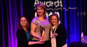 Veronica McGregor, Stephanie L. Smith and Courtney O'Connor of JPL accepted the SXSW Interactive Social Media Award. Image credit: NASA/JPL-Caltech
